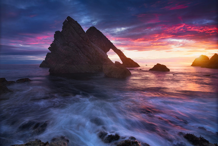 Sunrise above Bow Fiddle Rock, Scotland