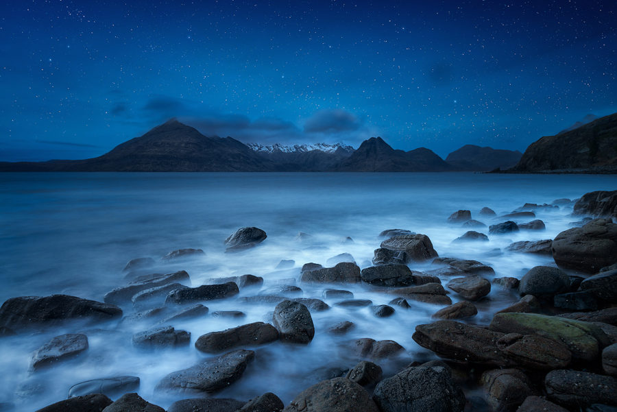 A starry night above the Cuillin mountains taken from Elgol.