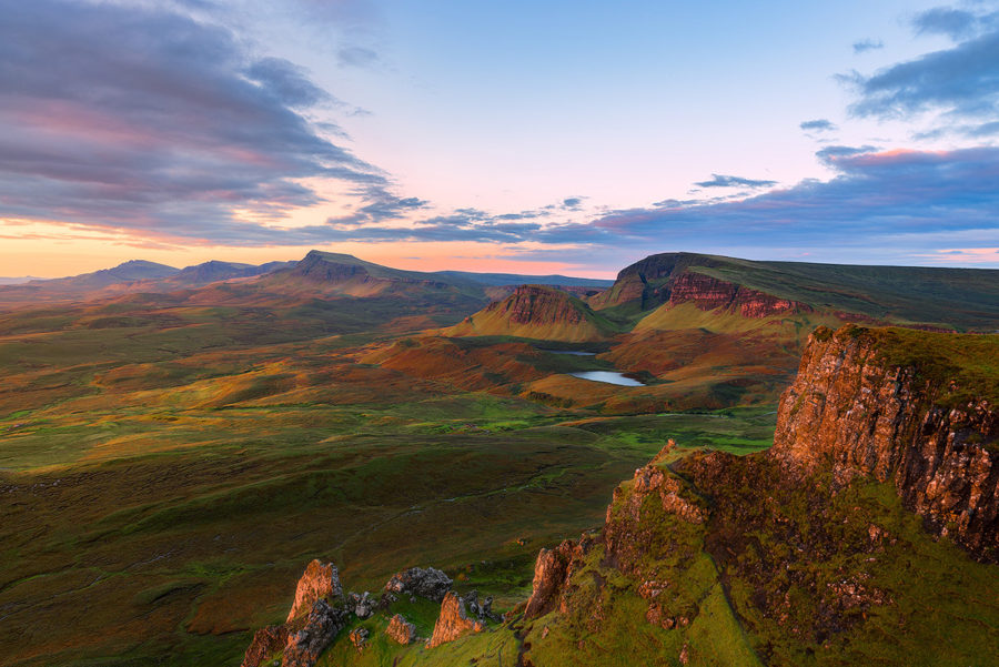 An idyllic view of unspoiled wilderness of the Isle of Skye, Quiraing