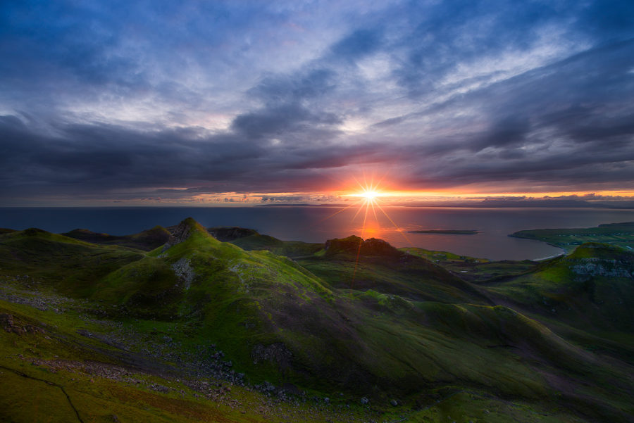 Amazing sunrise light above Staffin Bay, Isle of Skye, Scotland