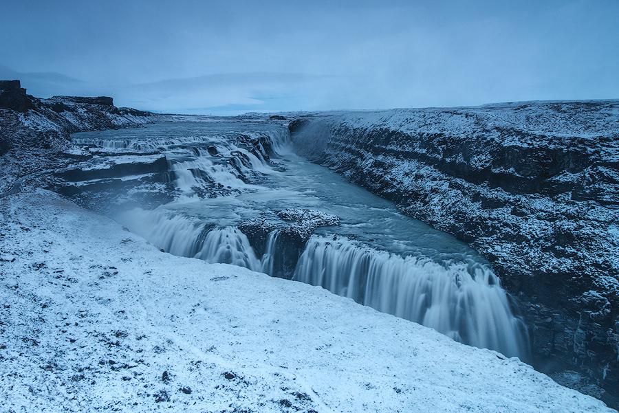 Wodospad Gullfoss zimą, Islandia