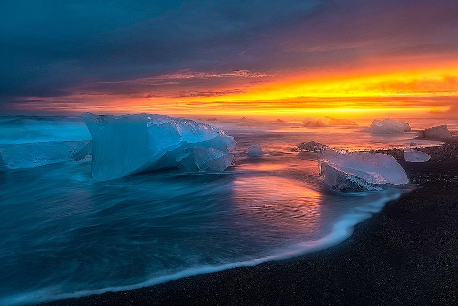 Plaża Breiðamerkursandur, kraina ognia i lodu; Islandia