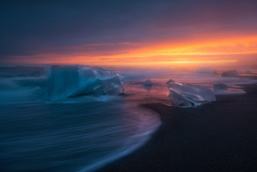 The ice blocks on the black beach Breiðamerkursandur, Iceland