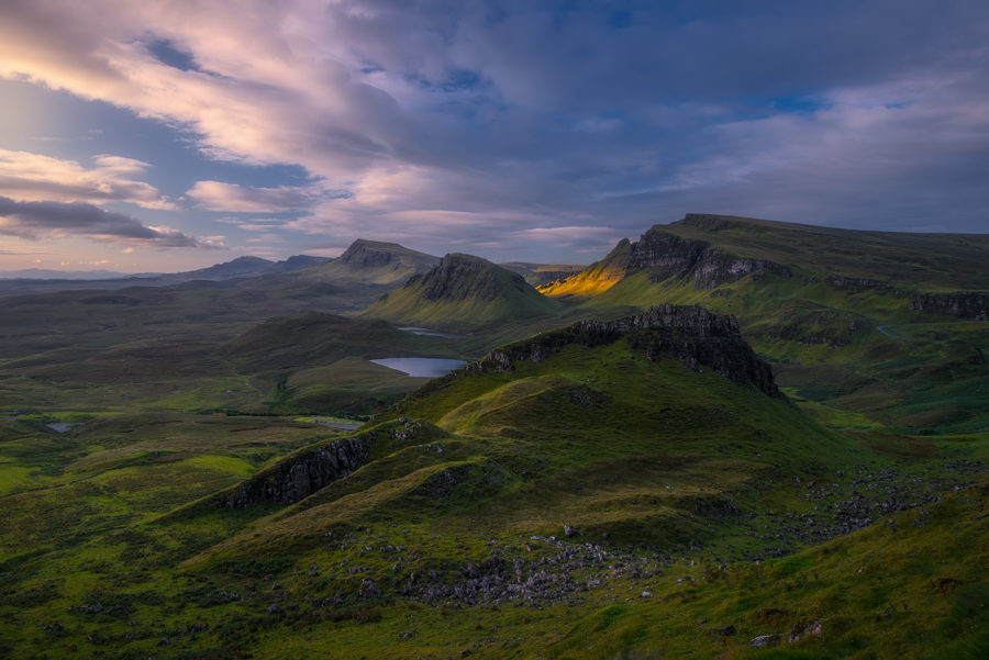Morning sunlight hits the Quiraing hills