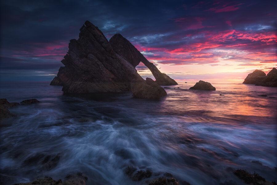 Sunrise above Bow Fiddle Rock, Scotland