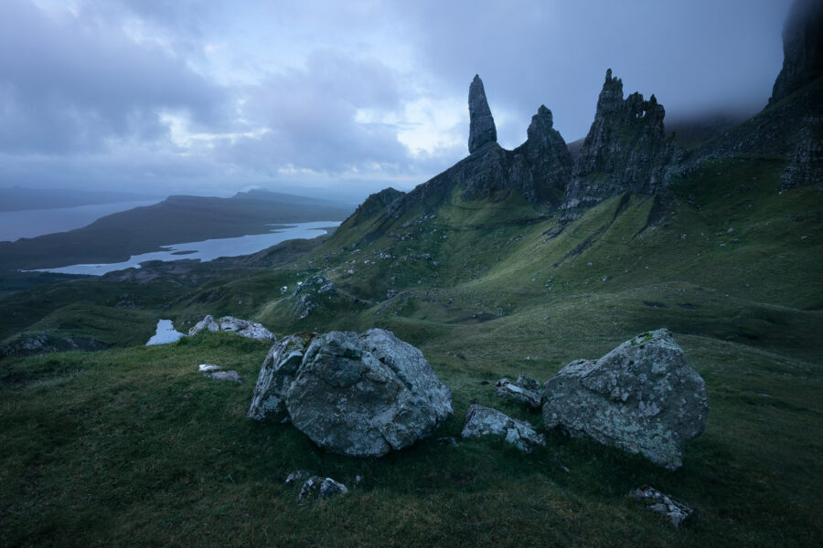A murky morning on dramatic landscape of the Storr.
